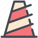 cone, road work, safety, sits, traffic icon