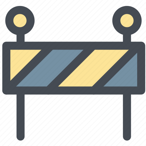 barrier, construction zone, road sign, roped off, stop icon