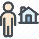 architecture, home, house, man, single house icon