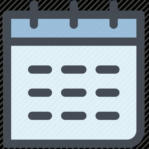 calendar, calendars, daily calendar, monthly calendar, schedule icon