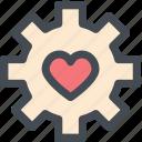 favorite settings, gear, heart, love, mechanism, setting icon