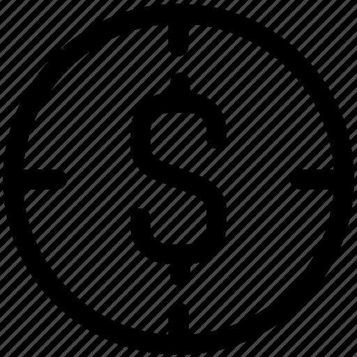 crosshair, dollar, financial, financial target, focus, goal, money, target icon