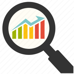 chart, financial, graph, management, marketing, optimization, search icon
