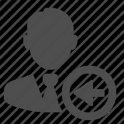 arrow, businessman, left icon