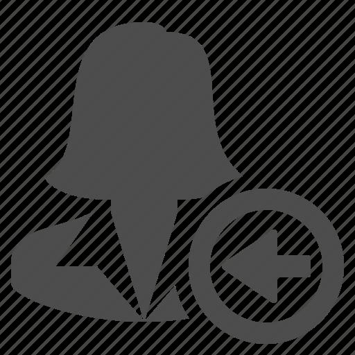 arrow, businesswoman, left, people, receive, user, woman icon