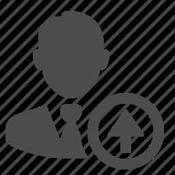 arrow, businessman, up, upload icon