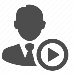 businessman, man, multimedia, people, play button, video icon