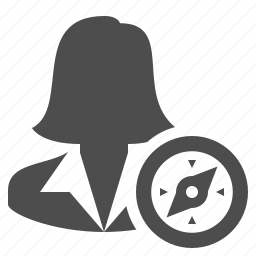 avatar, businesswoman, compass, female, navigation, user, woman icon