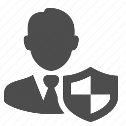 businessman, man, security, shield, user icon