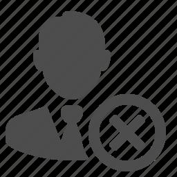 businessman, buttons, cancel, close, delete, man, x icon