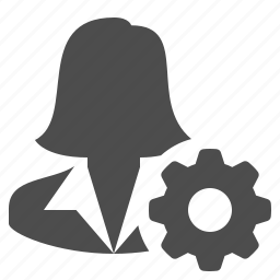businesswoman, cog, female, gear, sprocket, user, woman icon