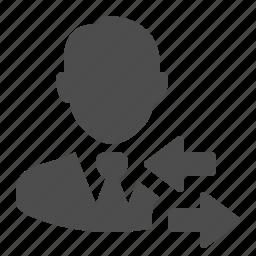 arrows, businessman, change, exchange, man, people, user icon