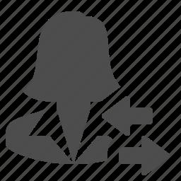 arrows, businesswoman, female, people, user, woman icon