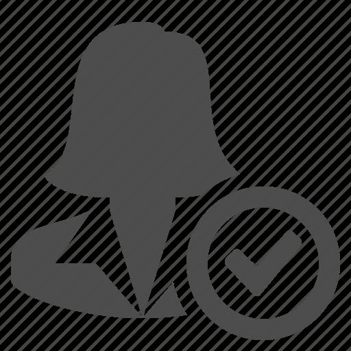 avatar, businesswoman, button, check, check sign, user, woman icon