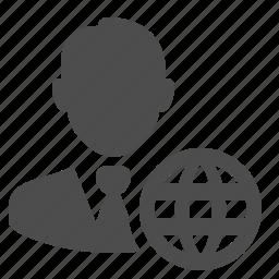 businessman, globe, man, network, web, worldwide icon