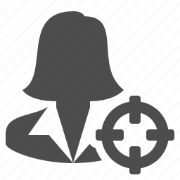 assassin, businesswoman, kill, scope, target, woman icon