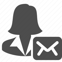 businesswoman, email, envelope, letter, mail, message, woman icon