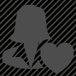 businesswoman, favorite, female, heart, love, user, woman icon