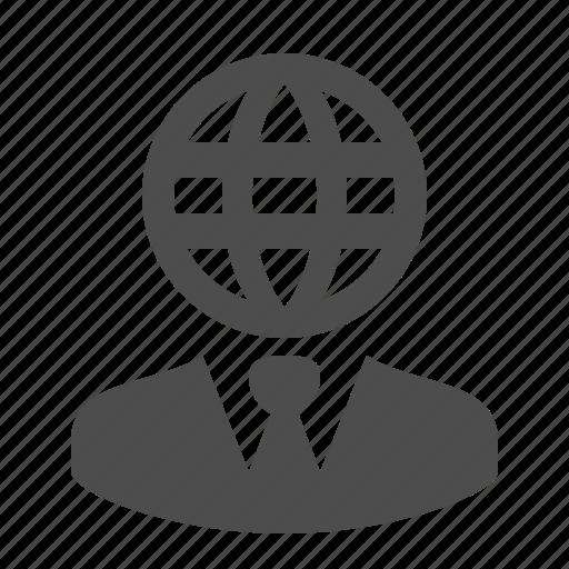 business, businessman, globe, man, network, web, worldwide icon