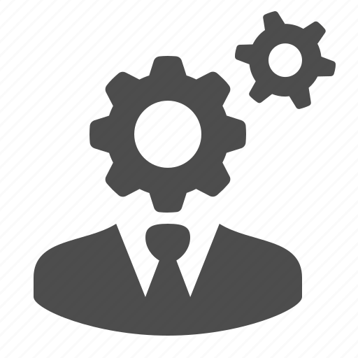 businessman, bust, cog, gear, man, plan, thinking icon