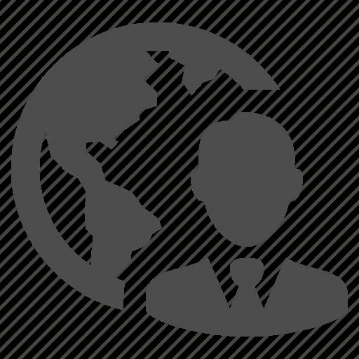business, businessman, earth, global, globe, international, man icon