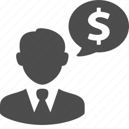 bubble, business, businessman, chat, finance, money, speech icon