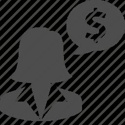 bubble, business, businesswoman, chat, finance, money, woman icon