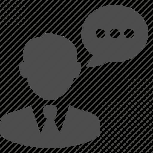 bubble, business, businessman, chat, communication, man, speech icon