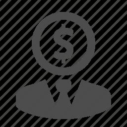 business, businessman, coin, dollar, finance, man, money icon