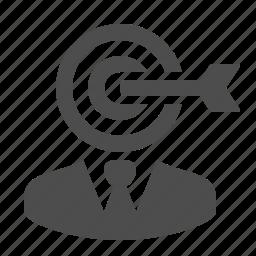 arrow, bullseye, businessman, dart, darts, man, target icon