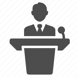 avatar, business, businessman, conference, lecture, male, man, microphone, person, podium, speech, user icon