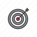 aim, aiming, arrow, dartboard, goal, metaphor, mission icon