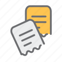 bill, business, document, file, folder, receipts, startup icon
