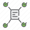business, document, file, lan, network, startup, tick icon