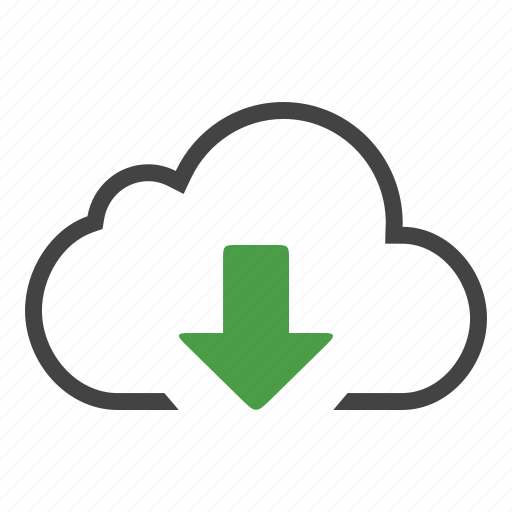 arrow, blue, bottom, cloud, down, download, offline icon