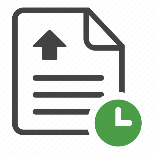 clipboard, document, file, paper, text, timing, upload, write icon