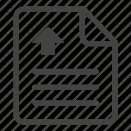 arrow, clipboard, document, file, paper, sheet, upload, write icon