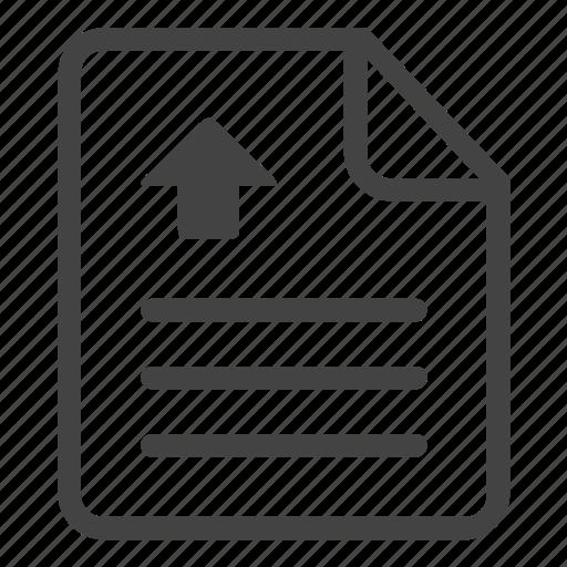 arrow, clipboard, document, file, paper, sheet, upload icon