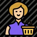 shopping, avatar, market, customer, woman, user, account icon