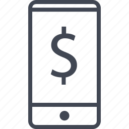 cell, dollar, mobile banking, phone icon