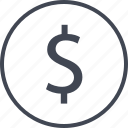 circle, coin, dollar, money icon