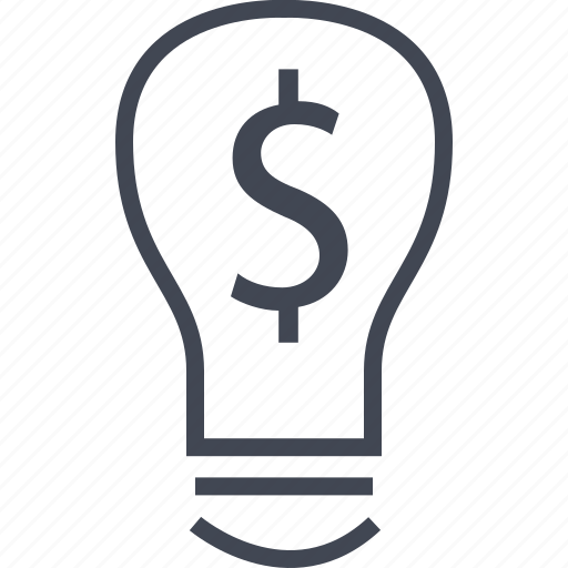 bulb, dollar, idea business, light icon