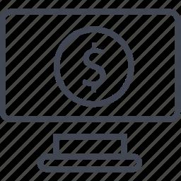 computer, dollar, money, monitor icon
