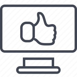 computer, monitor, screen, thumbs, up icon