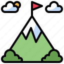achievement, flag, flags, goal, landscape, mission, mountain, mountains, nature, winner icon