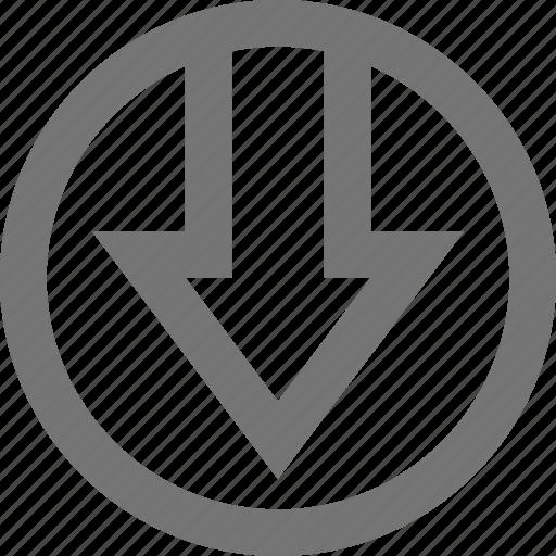 arrow, circle, decrease, down, download, import, material icon