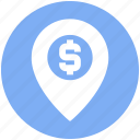 dollar, location, map, map pin, navigation, pin, sign