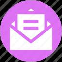 envelope, file, letter, mail, message, open envelope