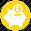 coin, dollar, money, pig, piggy bank, saving