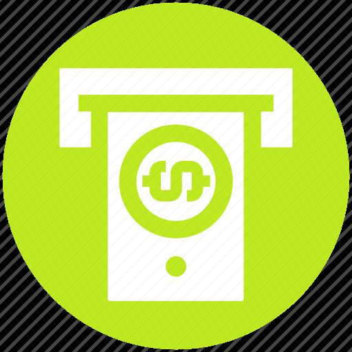 Atm machine, banking, dollar, dollar note, machine, money, note icon - Download on Iconfinder